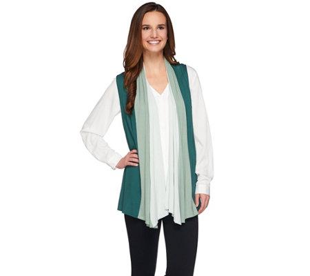 logo by lori goldstein color block drape front knit vest a255772 qvc com