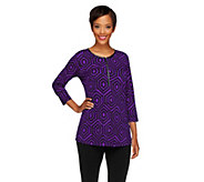 Susan Graver Printed Liquid Knit 3/4 Sleeve Half Zip Top - A255972