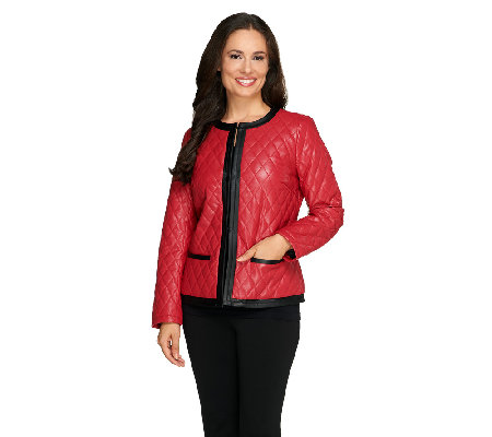 Joan Rivers Quilted Faux Leather Jacket Qvc Com