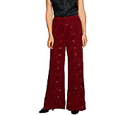Bob Mackies Pull-On Textured Knit Pants with Sequins - A259072