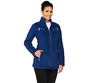Bob Mackies Fleece Jacket with Zipper Details - A261772