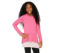 LOGO Littles by Lori Goldstein Twin Set Peplum Knit Top with Tank - A261872