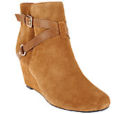As Is Isaac Mizrahi Live! Suede Ankle Boots with Wedge Heel - A264072
