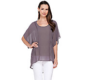 Lisa Rinna Collection Scoop Neck Hi-Low Hem Top with Tank - A264572