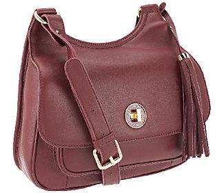 As Is Isaac Mizrahi Live! Bridgehampton Lamb Leather Saddle Bag