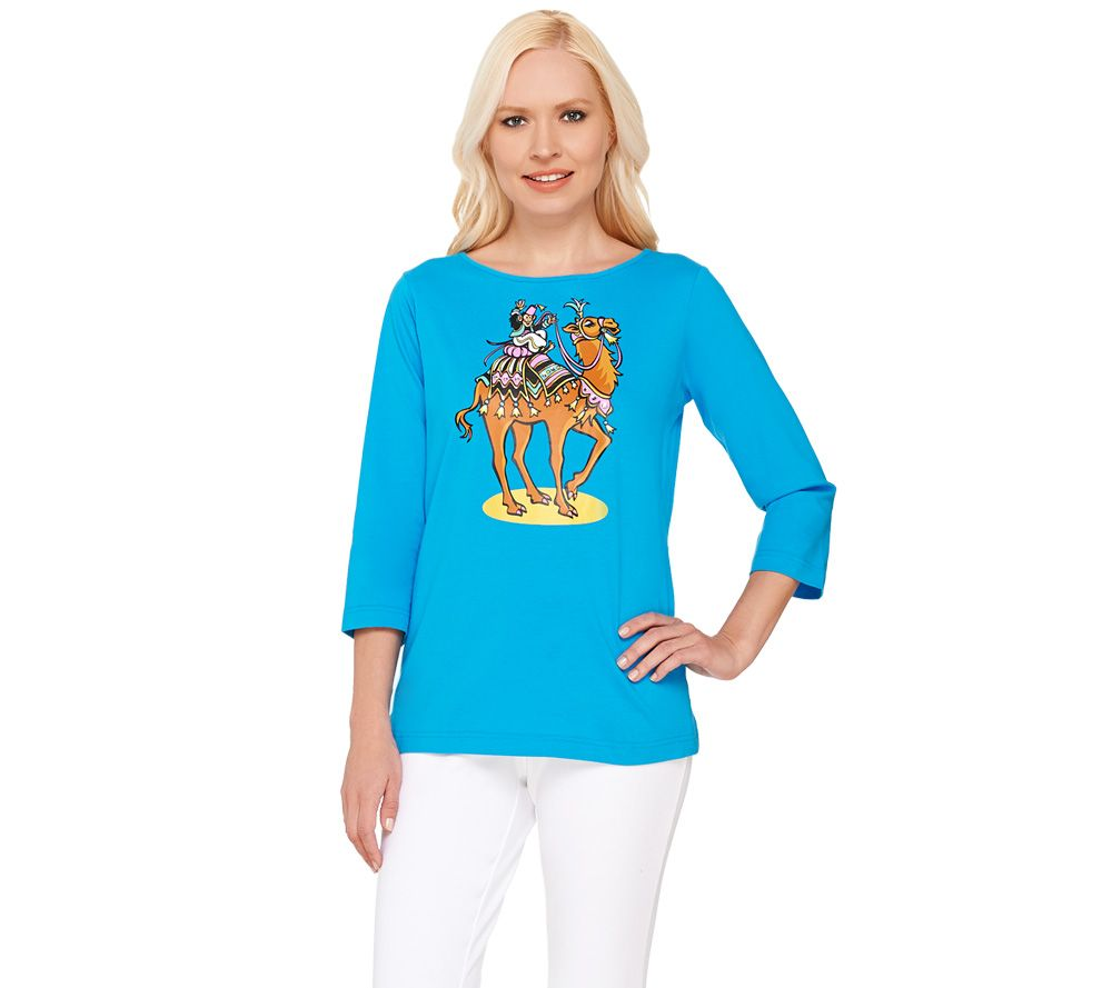 Bob Mackie's 3/4 Sleeve Camel Printed T-shirt with Embellishment - A266372