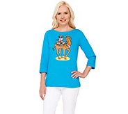 Bob Mackies 3/4 Sleeve Camel Printed T-shirt with Embellishment - A266372