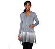 As Is LOGO by Lori Goldstein Knit Cardigan with Ombre Chiffon Trim - A267772