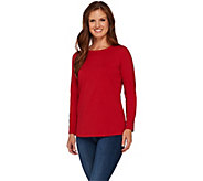 Susan Graver Essentials Cotton Modal Long Sleeve Bateau Neck Top - A269472
