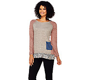 LOGO by Lori Goldstein Slub Terry Color-Block Top with Lace Trim - A269672