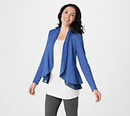 LOGO Lounge by Lori Goldstein French Terry Peplum Cardigan w/ Chiffon Trim - A269972
