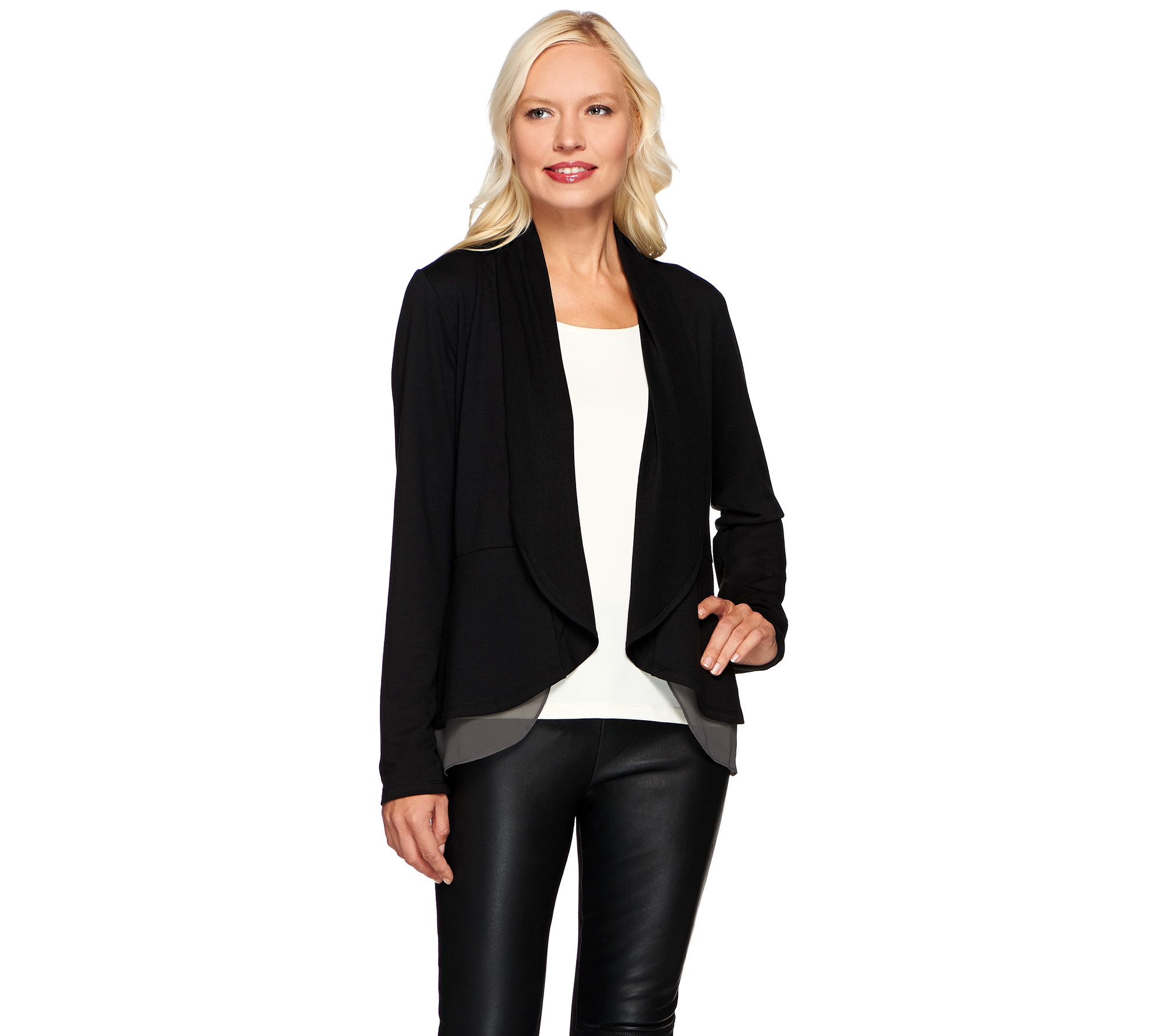 LOGO Lounge by Lori Goldstein French Terry Peplum Cardigan w/ Chiffon Trim  - Page 1 — QVC.com