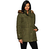 Liz Claiborne New York Puffer Coat with Faux Fur Trim Hood - A270072