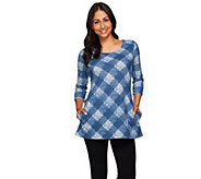Attitudes by Renee Plaid Printed Knit Tunic with Pockets - A270672