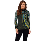 Bob Mackies Mock Neck Long Sleeve Printed Sweater - A271372