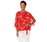 As Is Susan Graver Printed Sheer Chiffon Split Sleeve Top w/Tank - A271472