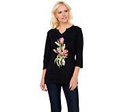 Quacker Factory Floral Embroidered Split V-Neck T-Shirt - A272772