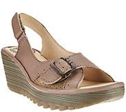 Fly London Leather Slingback Peep-toe Sandals - Yaga - A274272