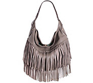 As Is orYANY Soft Nappa Leather Fringe Hobo - Stevie - A278972