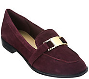 As Is Isaac Mizrahi Live! Suede Loafers with Hardware Detail - A280372