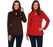 Susan Graver Set of 2 Butterknit Turtleneck Tops with Keyhole - A281172