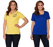 As Is Quacker Factory Set of 2 Summer Sparkle Short Sleeve T-shirts - A286372