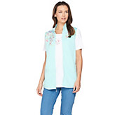 Quacker Factory Springtime Embroidered Vest and Short Sleeve T-shirt - A287072