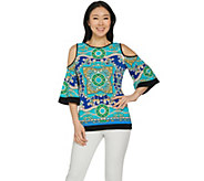 Susan Graver Printed Liquid Knit Cold Shoulder Top - A287672