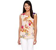 As Is View by Walter Baker Woven Top with Front Pleat - A288272