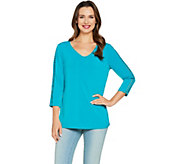 Susan Graver Liquid Knit Top with Crochet Trim - A288472