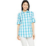 Joan Rivers Two Toned Plaid Seersucker Boyfriend Shirt - A288772
