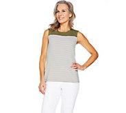 Denim & Co. Striped Sleeveless Round Neck Top - A291672
