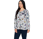 Quacker Factory Butterfly and Bird Print Button Front Cardigan - A291872