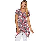 Attitudes by Renee Butterfly Print Cap Sleeve Tunic - A292372
