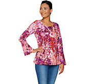 Isaac Mizrahi Live! Floral Branch Print Top with Ladder Lace Detail - A295872