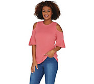 Isaac Mizrahi Live! Cold Shoulder Flutter Short Sleeve Sweater - A303172