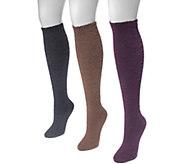 MUK LUKS Womens 3 Pair Pack Fuzzy Yarn Knee High Socks - A361472