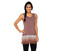 As Is LOGO by Lori Goldstein Knit Tank with Ombre Chiffon Trim - A214573