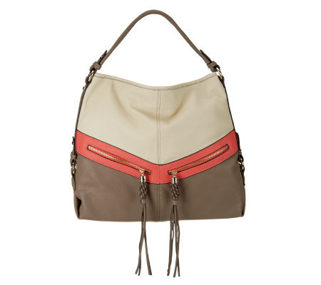 V Couture Gillian Color-Block Hobo with Zipper Detail