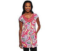 George Simonton Printed Top w/ Crochet & Bead Neck Detail - A233873