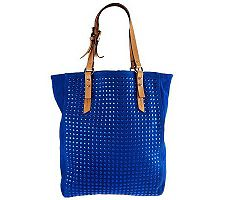 Kelsi Dagger Cicely Suede Tote with Vachetta Trim & Stud Detail