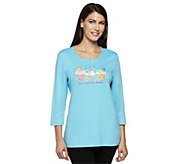 Quacker Factory Summertime Sweets Cupcake 3/4 Sleeve T-shirt - A238073