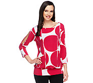Susan Graver Liquid Knit Printed Top with Banded Bottom - A252473