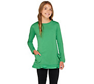 LOGO Littles by Lori Goldstein Top with Pockets and Chiffon Trim - A255473
