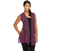 LOGO by Lori Goldstein Open Front Vest with Chiffon Trim