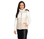 Liz Claiborne New York Zip Front Vest with Hood - A257173