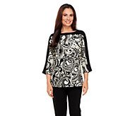 Susan Graver Weekend Printed Cotton Color Block Top - A257973