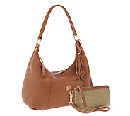 As Is Isaac Mizrahi Live! Bridgehampton Leather Hobo - A259873