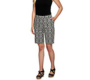 As Is Susan Graver Printed Cotton Sateen Bermuda Shorts - A263673