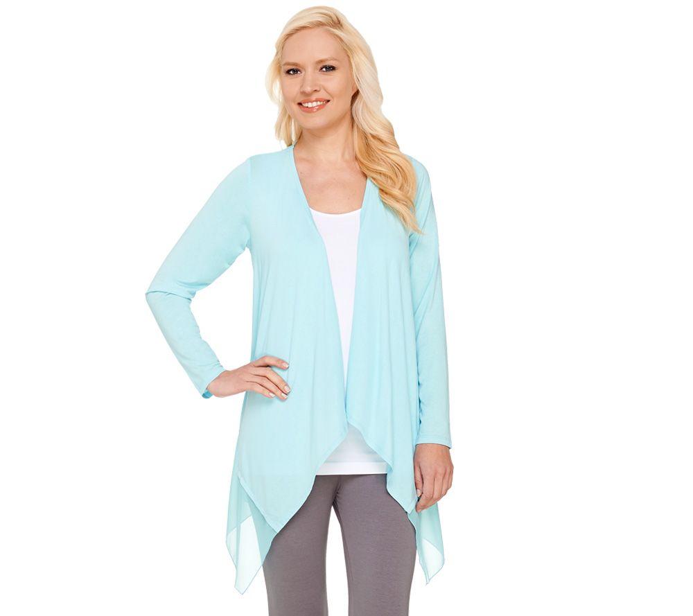 Joan Rivers Jersey Knit and Chiffon Draped Cardigan - Page 1 — QVC.com